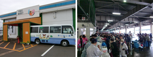 福井市中央卸売市場内のふくい市場フェスタの模様