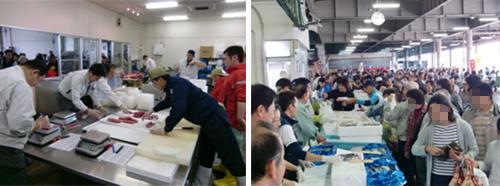 マグロ解体後の販売準備と水産物売り場の様子